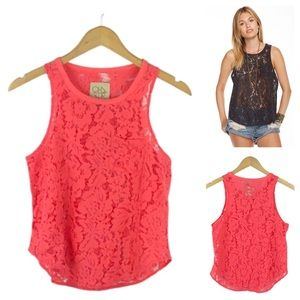 CHASER | Coral Lace Basics Pocket Muscle Tank
